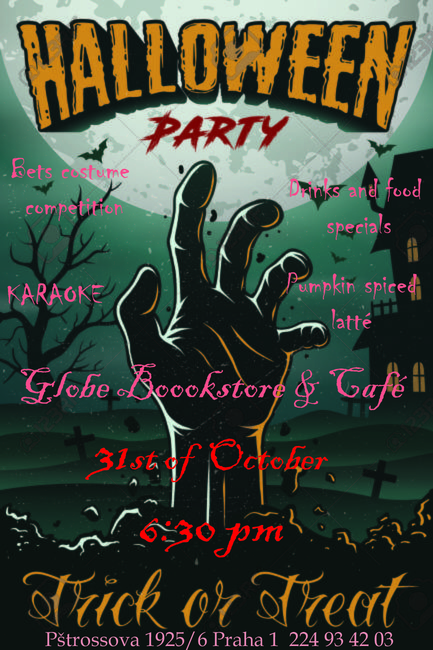 Halloween party poster with zombie hand, house, tree and bats